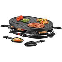 Unold 48795 Raclette Gourmet Schwarz 1.200 Watt Guss-Platte 8 Raclette-Pfännchen