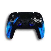 LuxController PS5 Custom LED Controller mit 2 Paddles, Blau Flammen Design für PlayStation 5