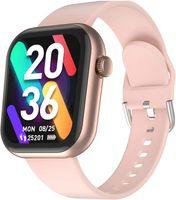 CUBOT C5 Smartwatch Damen, 5 ATM Wasserdicht 1.7 Zoll Touchscreen Schrittzähler Uhr, Armbanduhr mit Pulsuhr, Fitnessuhr iOS/Android kompatibel, Fitness Tracker, Rosegold