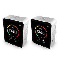 2pcs 3 in 1 Kohlendioxid-Detektor Luftqualitaetsmonitor Temperatur Luftfeuchtigkeit Luftanalysator für CO2 Digitales CO2-Messgeraet für Home Office Sonstige Messtechnik