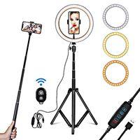 26cm Fuelllicht Ringlicht Zusatzlicht LED-Licht Faltlicht fuer Fotografie Live-Stream Make-up YouTube-Video mit Stativ Stand Remote Shutter
