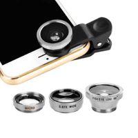 3 in 1 Handy Fischauge Super Weitwinkel Makro Kamera Objektiv Kit mit Clip Silber