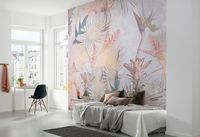 "Komar Fototapete ""Tropical Concrete"", bunt, Tropische Gewächse, Pink, Design, 368 x 254 cm"
