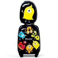 COSTWAY Kindergepaeck Kindertrolley Kinderkoffer + Rucksack, Kinderkoffer, Reisekoffer Jungen, Handgepaeck Reisegepaeck