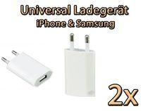 2x UNIVERSAL USB Ladegerät für Steckdose Netzteil Adapter iphone & Samsung  weiß