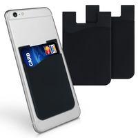 kwmobile 3x Kartenhalter Hülle für Smartphone - selbstklebend - Aufklebbare Silikon Kreditkarten Tasche Schwarz - Maße 8,5x5,5cm