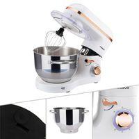 AREBOS Küchenmaschine 1500W 6L Edelstahl-Rührschüssel Geräuschlos Weiß