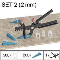 Fliesen Nivelliersystem, Verlegesystem, Verlegehilfe, Set 2 (500 Laschen, 200 Keile, Zange), 2 mm