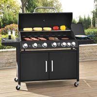 Juskys BBQ Gasgrill California – Grillwagen mit 6 Brenner & 1 Seitenbrenner 24,3 kW - Barbecue Grill inkl.  Deckel, Thermometer & Abdeckhaube