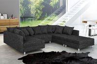 Wohnlandschaft Sofa Couch Ecksofa Eckcouch in Gewebestoff schwarz Minsk XXL