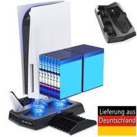 Vertikaler Ständer Ladestation für PS5, Multifunktionale PS5 Organizer-Ständer mit 2 Kühllüfter für PS5-Konsole DE/UHD, Spieledisk und PS5-Controller, Controller Ladegerät für PS5 Controller mit Ladeanzeige