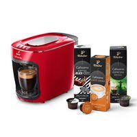 Tchibo Cafissimo mini Kapselmaschine (für Kaffee, Espresso und Caffè Crema) inkl. 30 Kapseln, Rot