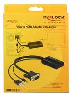 DeLOCK VGA to HDMI Adapter with Audio - Video- / Audio-Adapter - HDMI / VGA - DB-15, Mini-Phone 3,5 mm, 4-poliger USB-Anschluss Typ A (nur Strom) (M) - HDMI, 19-polig (W) - 25 cm