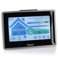 Mebus funkgesteuerte Wetterstation digital Thermometer Funk mit Außensensor Touch-Display Hygrometer Innen- und Außentemperatur