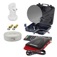 PremiumX Camping SAT Anlage Koffer Single LNB Kabel HD Satelliten Receiver