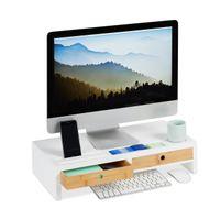relaxdays Monitorständer Weiß mit Schubladen