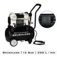 STAHLWERK Druckluftkompressor Flüsterkompressor, verschleißfreier 1500W Brushless-Motor, 3-12 Bar