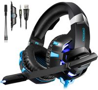 Onikuma K2A Stereo Wired Gaming Headset PS4 Gaming Headset Headset Gamer Headset mit Mikrofon für PC Xbox One / Laptop LED Leuchtet-Blau