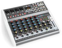 Vonyx VMM-K802 - 8-Kanal-Mixer , Mischpult , integrierter USB-Player , Bluetooth , +48 V Phantomspeisung , Höhen-, Mitten- und Tiefenregler pro Kanal , 16 vorprogrammierte DSP-Funktionen , schwarz