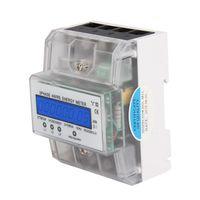 LCD Drehstromzähler geeicht für DIN Hutschiene + 3x230/400V 5(80)A 3 Phasen 4 Draht Stromzähler Messgerät Multifunktionsmessgerät
