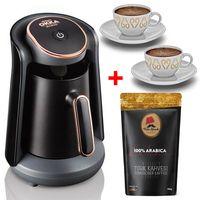 Arzum Okka Minio Mokka Maschine Espressomaschine Mokkakocher + 2 Tassen + 100 gr Türkische Kaffee Schwarz / Kupfer