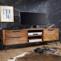 FineBuy Lowboard NASHA 160x54x40 cm Sheesham Massiv Holz   Design Hifi-Board mit Stauraum und Schubladen   Massivholz Fernsehschrank Wohnzimmer   Industrial Fernsehkommode mit Metallbeinen