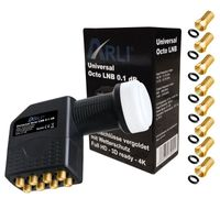 ARLI Octo LNB 0.1dB + 8x F-Stecker vergoldet - 8 Teilnehmer