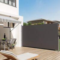SONGMICS Alu-Seitenmarkise 350 x 200 cm anthrazit ausziehbar wasserdicht Sichtschutz für Balkon Teresse Sonnenschutz Windschutz Seitenrollo GSA205G