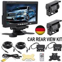 "7"" LCD Auto Monitor +2 Rückfahrkamera Set Bus Funk Kabellos Rückseiten Kamera+Fernbedienung"