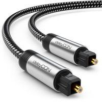 deleyCON 3m Toslink Kabel Optisches Digital Audio Kabel mit Metallstecker & Nylon Mantel - SPDIF Lichtwellenleiter Kabel