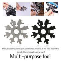 19 in 1 Outdoor Schneeflockenschlüssel Multitool Kombination kompakte Tragbare Outdoor Schneeflocken Werkzeugkarte / schwarz