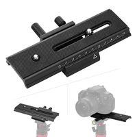 Schnellwechselplatte aus Aluminiumlegierung QR-Platte mit zwei 1/4-Zoll-Schrauben Einstellknopf fuer Nonius fuer DSLR-Kamera-Camcorder-Stativ-Einbeinstativ