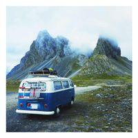 Glasbild - Campingbus in Island - Quadrat 1:1, Größe HxB:50cm x 50cm