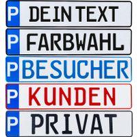 1 Stück Individuelles P-Kennzeichen Parkplatzschild Wunschkennzeichen Nummernschild Privat Praxis Kunde Wunschtext