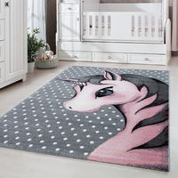 TT Home Kinder Teppich Moderner Spielteppich Einhorn Sternen Design Mit Wolken Rosa Gr/ö/ße:/Ø 120 cm Rund