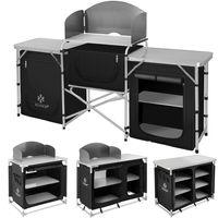 KESSER® Campingschrank, Campingküche mit Aluminiumgestell,  ink.Tragetasche ,  Kocherschrank für Camping , Campingmöbel , Outdoor , schwarz/grau, Größe:Typ F6