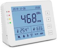 CO2 Messgerät KKmoon Kohlendioxid Detektor 0-5000 ppm für den Innenbereich Haushaltsluftdetektor Akustischer Alarm, großer Bildschirm - Weiß