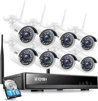 ZOSI 8CH 1080P H.265+ NVR Außen WLAN Videoüberwachung Set mit 1TB Festplatte und (8) 2MP Funk Überwachungskamera