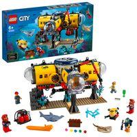 LEGO 60265 City Meeresforschungsbasis, U-Boot-Spielzeug mit Figuren von Meerestieren, tolles Geschenk für Kinder ab 6 Jahre