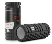 Hop-Sport Faszienrolle mit Massagewellen HS-A033YG 33x14cm Trainingsrolle zur optimalen Muskelregenaration - Mittel-Hart  - Schwarz