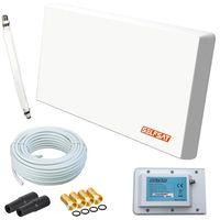 Selfsat H22D+ Flachantenne Single mit Multifunktionshalterung + 10m Kabel + 1 Fensterdurchführung + 4 F-Stecker + 2 Wetterschutztüllen digital Sat Anlage 1 Teilnehmer (Full HD 4K UHD)