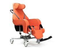 FabaCare Pflegerollstuhl mit Liegefunktion Altitude, Multifunktionsrollstuhl neigbar, Sitzschalenstuhl, Orange, Sitzbreite 44 cm