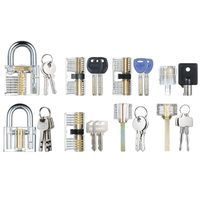 8 PCS Visible Practice Lock Set Transparentes Vorhaengeschloss Tubular Lock Picking Training Schlosserwerkzeuge Lockpicking Set fuer Anfaenger Profis Kinder