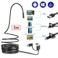 5M USB Endoskop Kamera HARTES KABEL Inspektionskamera 5,5mm HD LED Inspektion für Handy PC Andoid/ Window/Mac Book