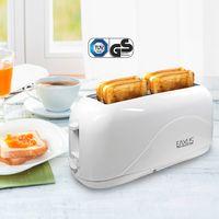 Eaxus® 4-Scheiben Toaster 1300 Watt mit Cool Touch Gehäuse. Langschlitz-Toaster / Automatik-Toaster mit 7 Bräunungsstufen und Krümelschublade. Perfekt für Familien. Weiß