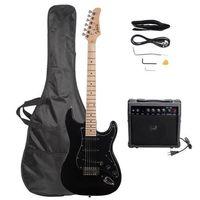 Glarry GST E-Gitarre + 20W Lautsprecherset Single Pickup Basswood Maple Griffbrett Schwarz