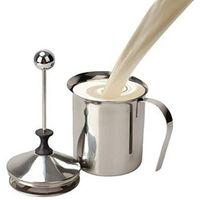 Milchaufschaeumer Manuell, 500ML Milchaufschäumer Edelstahl mit Doppel Mesh, Milchaufschäumer Schaumbecher Schaumstoff Sahnekännchen