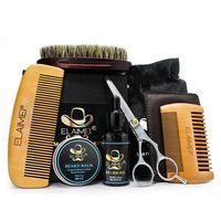 ELAIMEI Bartpflege-Werkzeugset Bartkammborstenborstenbuerstenschere Bartcreme 6-teiliges Set