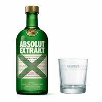 Absolut Vodka Extrakt Set mit Tumbler Glas, schwedischer Premium Wodka, Kardamom-Extrakt, Spirituose, Shot, Alkohol, Flasche, 35%, 700 ml