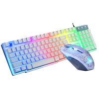 Gaming USB Tastatur RGB Keyboard und Maus RGB Mouse Set Regenbogen Gamer LED fur PC Laptop PS3 PS4 Windows, Weiß